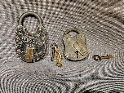Pair of 2 Antique/vintage padlocks with keys