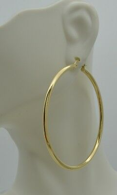 """14k Solid Yellow Gold """"big Large"""" Plain Round hoop Earrings 55mm x2MM 3.3GR"""