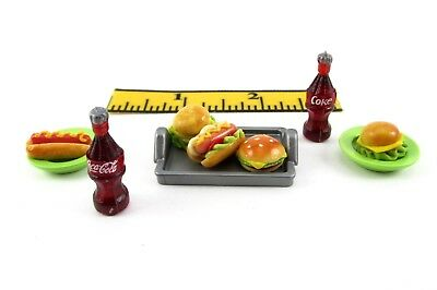 PLAYMOBIL~Custom~Silver~Rec.~Tray~Green Dishes~Coke~Hot Dogs~Hamburger~Food~PC