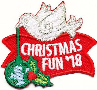 Girl Boy CHRISTMAS FUN '18 2018 Dove Patches Crest Badges SCOUT GUIDE Holiday