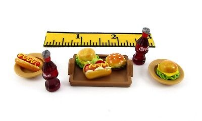 PLAYMOBIL~Dollhouse~Brown Rec. Tray~Brown~Dish~Coke~Hot Dogs~Hamburgers~Food~PC