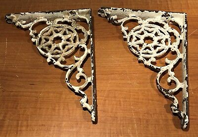 Pair Antique Cast Iron Architectural Wall Shelf Brackets