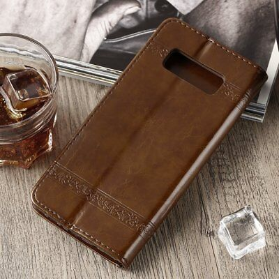 Genuine Leather Flip Wallet Phone Case Cover for iPhone 6 7 Plus Samsung Note SW