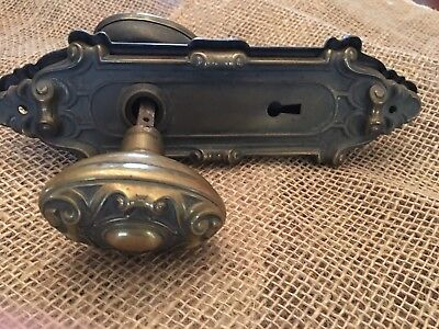 Two Antique Copper Brass Ornate Door Knobs And Back Plates Very Old