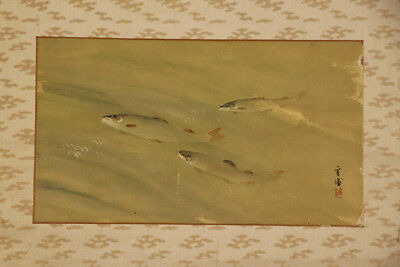"JAPANESE HANGING SCROLL ART Painting ""Sweet fish"" Asian antique  #E4717"