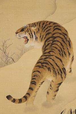 "JAPANESE HANGING SCROLL ART Painting ""Tiger"" Asian antique  #E4724"
