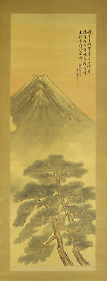"JAPANESE HANGING SCROLL ART Painting Scenery ""Mt. Fuji"" Asian antique  #E4718"