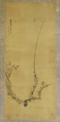 """JAPANESE HANGING SCROLL ART Painting """"Plum tree"""" Asian antique  #E4730"""
