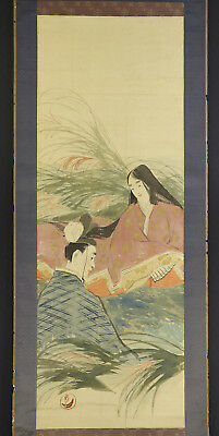 JAPANESE HANGING SCROLL ART Painting  Asian antique  #E4731