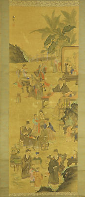 "JAPANESE HANGING SCROLL ART Painting ""Chinese wisemen"" Asian antique  #E4733"
