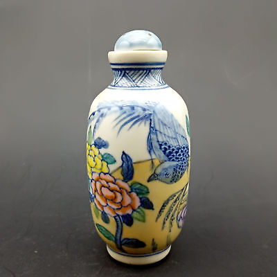 Chinese Handmade Exquisite Flowers & birds pattern porcelain snuff bottle   A362