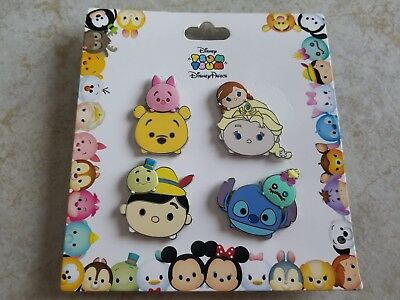 Disney Parks Trading Pin Lot 4 New Booster Set Tsum Tsum Stitch Pooh Elsa Piglet