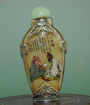 collect china painting figure story glass carved jade lid snuff bottle b01