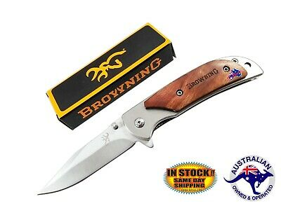 Folding Knife Hunting Fishing Pocket Camping Opening Outdoor Steel Brown EDC SML
