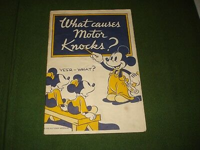 "Rare 1938 Sunoco Mickey Mouse ""what Causes Motor Knocks"" 12 Page Booklet"
