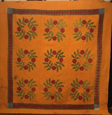 1860's Floral Wreath Applique Quilt w/ Geese Border on Cheddar.