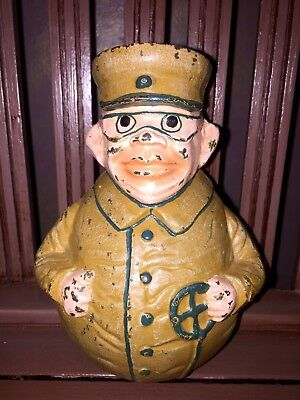 """Vintage Cast Iron TOJO Japanese WW2 Army General Coin Bank ULTRA-RARE 6.5""""T"""