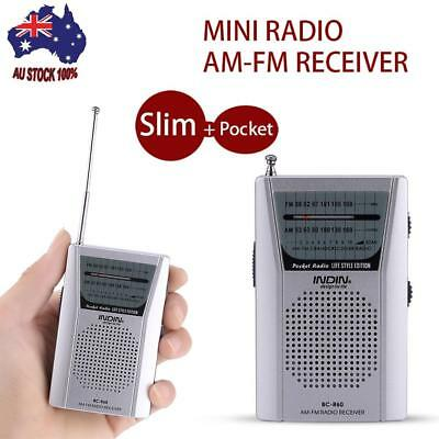 Portable Pocket Radio FM64-108MHz AM520-1710KHz Stereo Receiver Built in Speaker