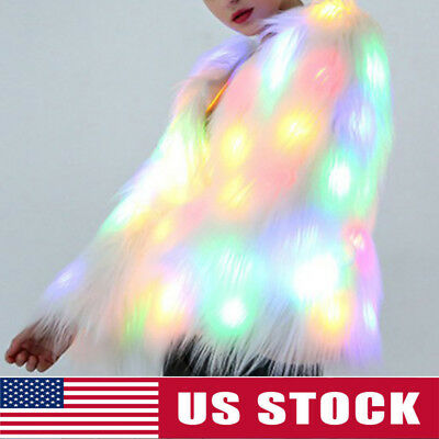USA Women Fluffy Faux Fur LED Light Coat Parka Christmas Costumes Cosplay Jacket