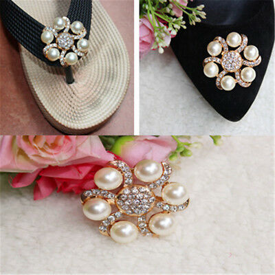 Women Shoe Decoration Clips Crystal Pearl Shoes Buckle Wedding Decor Best GE