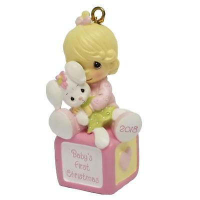New Precious Moments Baby's First Christmas Dated 2018 Girl Ornament