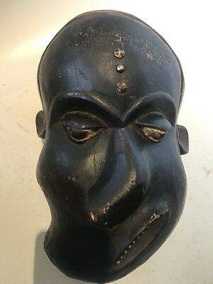 """Vintage African Zaire Tribe Hand Carved & Painted Wooden Face Mask Zaire 12"""""""