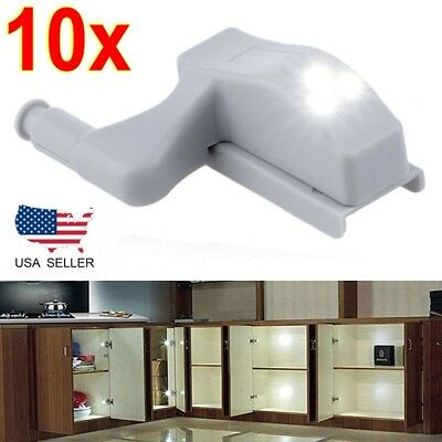 10 Cabinet Hinge LED Sensor Light Fr Wardrobe Cupboard Home Kitchen Door Closet+