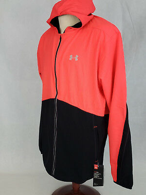 5de198991 Under Armour Mens UA Run hoodie Running Jacket 2XL Red Black NWT Fitted  Heatgear