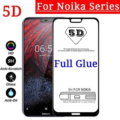 For Nokia 9 PureView 8.1 6.1 5.1 7 PLUS 7.1 3.1 5D Full Glue Tempered Glass Film