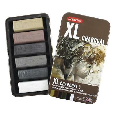 Derwent XL Charcoal Blocks - Tin of 6  - With of Without XL Grippers (2 Pack)