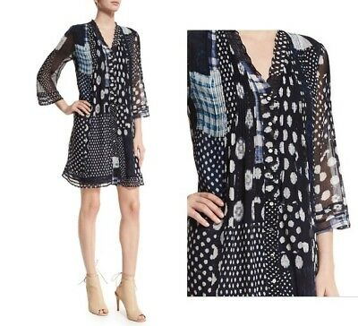 2d2d4612ca70 NWT Diane von Furstenberg DVF Layla Silk Chiffon Dress Patched Dots Denim  sz 4