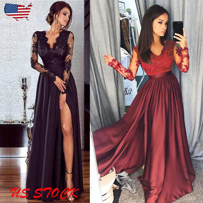 Women Lace Split Evening Party Ball Prom Gown Formal Cocktail Wedding Long Dress