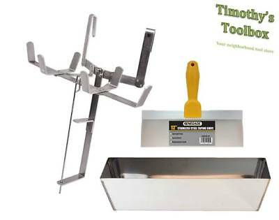 """Drywall Mud Pan/Tape Holder Set with 12"""" Stainless Steel Pan and 12"""" Knife"""
