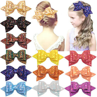 12pcs 5inch Glitter Hair Bows Boutique Alligator Hair Clips For Teens Girls