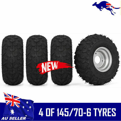 "4X 145/70- 6"" inch Wheel Rim + QIND Tyre Tire 50 110cc Quad Dirt Bike ATV Buggy"