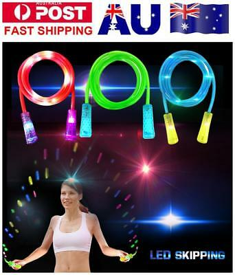Speed Skipping Rope LED Jump Rope Fitness Adjustable Color-Change Rope for Kids