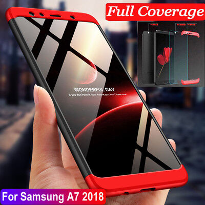 For Samsung Galaxy A7 2018 Hybrid 360° Protective Case Cover + Tempered Glass