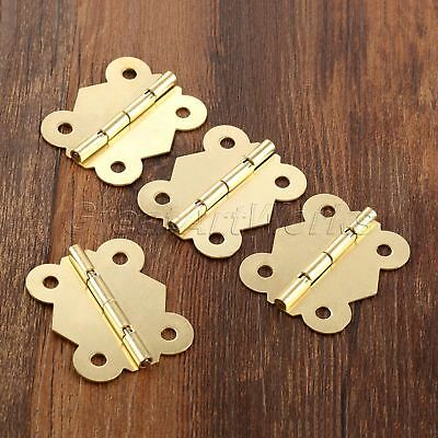4pcs Gold Tone Butterfly Door Hinges Wooden Box Cabinet Drawer with Screws Iron