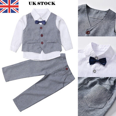 UK Baby Kids Boys Suits 4Pcs Formal Toddler Waistcoat Suit Wedding Party Outfits