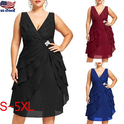 Womens Plus Size Sleeveless Lace V Neck Dress Sexy Chiffion Cocktail Party Dress