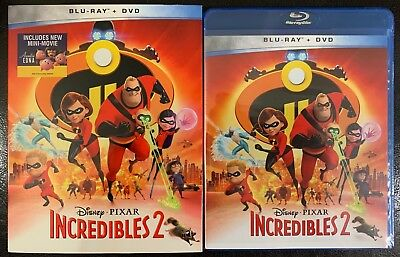 New Disney Pixar Incredibles 2 Blu Ray Dvd 3 Disc + Slipcover Walmart Exclusive