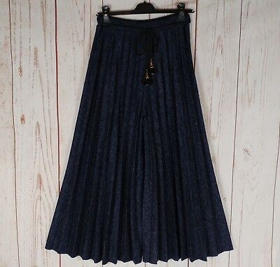 MADE IN ITALY Plissee Hose Marlenehose Culotte Business marine blau 34 36  38 40 2acd5eb065