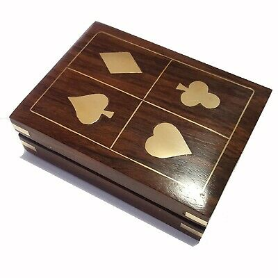 Playing Card Game Travel Set 1 Deck Rosewood Box Brass Poker Bridge Man Gift