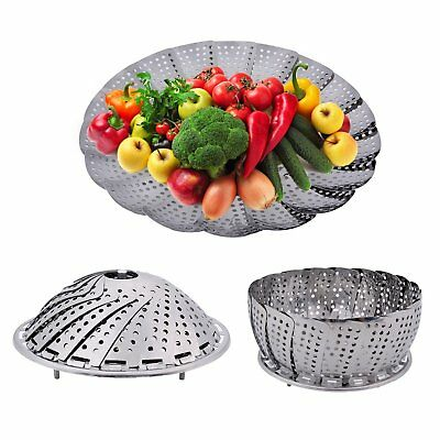 UK Folding Steamer Steam Basket Stainless Steel Mesh Expandable Cooker Thickened