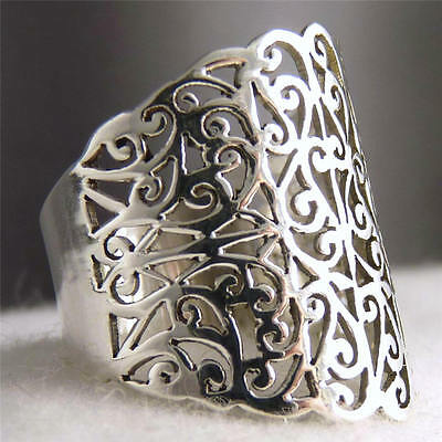WIDE JALI BAND US 9.25 SilverSari Art Thumb Finger Ring Solid 925 Stg Silver