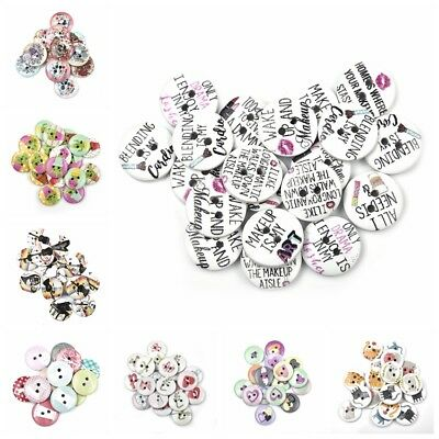 15mm 2-Holes Wood Buttons Sewing DIY Scrapbooking 50Pcs Round Shape Button