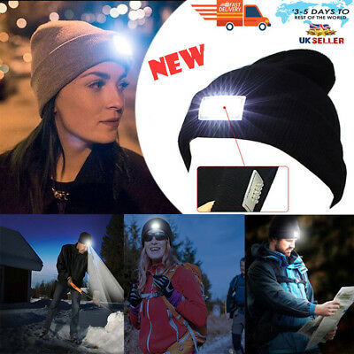 5 LED Beanie Hat Cap With 5 LED Torch Light One Size Outdoors Camping Joggers UK