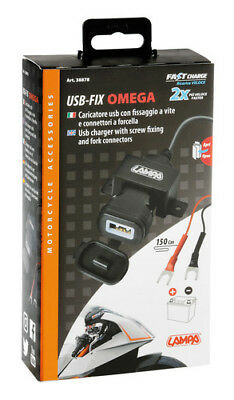 Usb Fix Omega, caricatore Usb 12/24V con fissaggio a vite e connettori a forcell