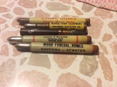 Lot of 5 Vintage Advertising Bullet Pencils - State ohio,Ravenna ohio