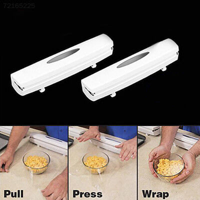 9BF0 Kitchen Plastic Food Cling Wrap Foil Dispenser Cutter Holders Storage Tools
